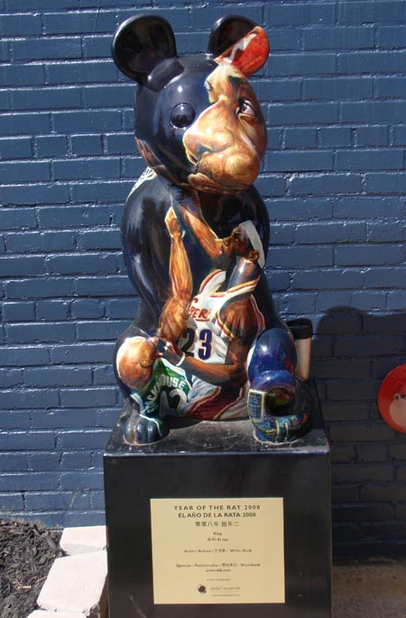 NBA MVP and Cleveland Cavalier LeBron James as a rat sculpture in Cleveland - photos by Dan Hanson