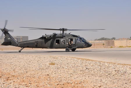 A Task Force 38 UH-60 Black Hawk lands at the Riflestock FARP in Baghdad Iraq on on Monday, August 24, 2009. U.S. Army photo by Staff Sgt. Jeff Lowry, Task Force 38 Public Affairs