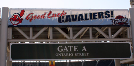 Cleveland Indians wish Cleveland Cavaliers good luck in the playoffs