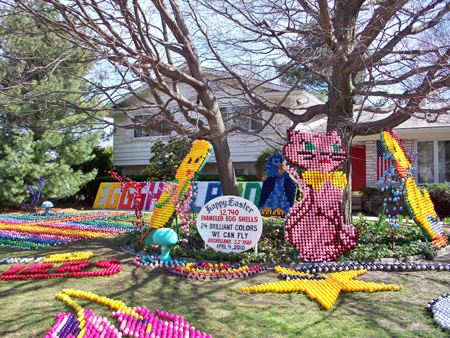 Easter egg display at Egg Shell Land in Lyndhurst Ohio