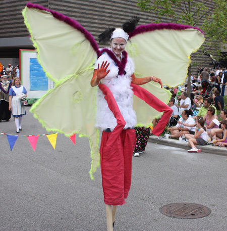 Butterfly on stilts at Parade the Circle in University Circle