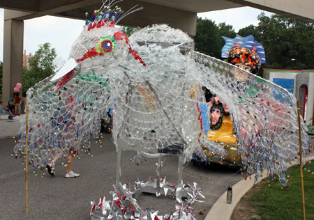 Bird made from clear plastic packaging from medical supplies