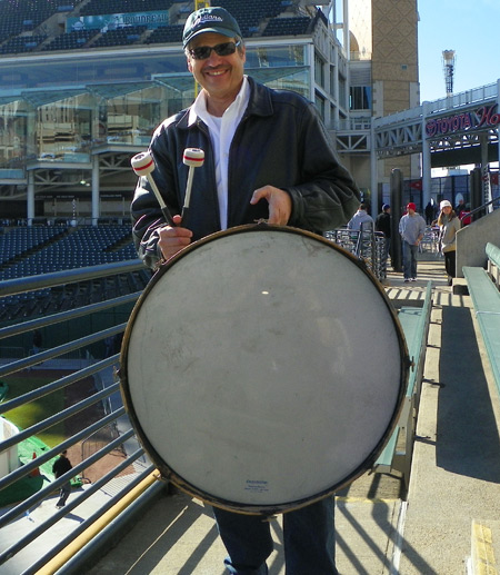 Indians Super Fan John Adams began the Snolympics with 3 pounds of his drum