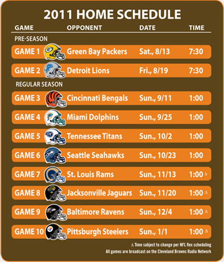 2011 Cleveland Browns home football schedule