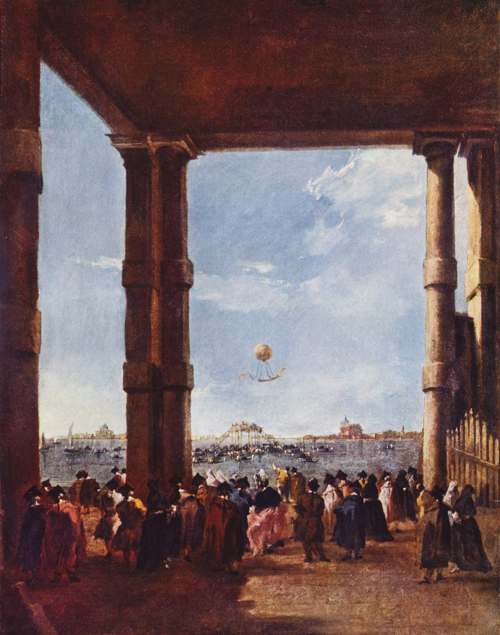 Ascent of a Balloon in Venice, 1784 painting