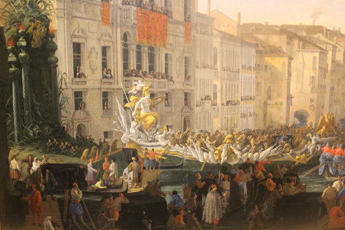Closeup of The Regatta on the Grand Canal in Honor of Frederick IV, King of Denmark  Painting at Eyewitness Views: Making History in Eighteenth-Century Europe