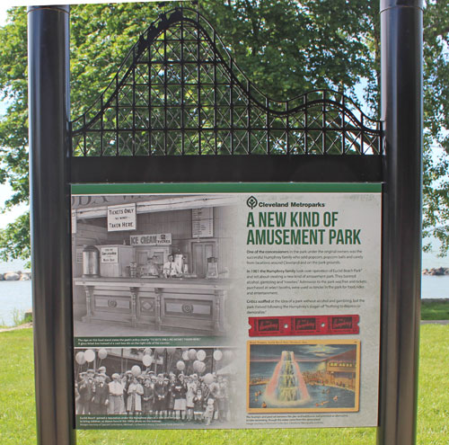 Euclid Beach Park near the Pier are signs with memories of Euclid Beach