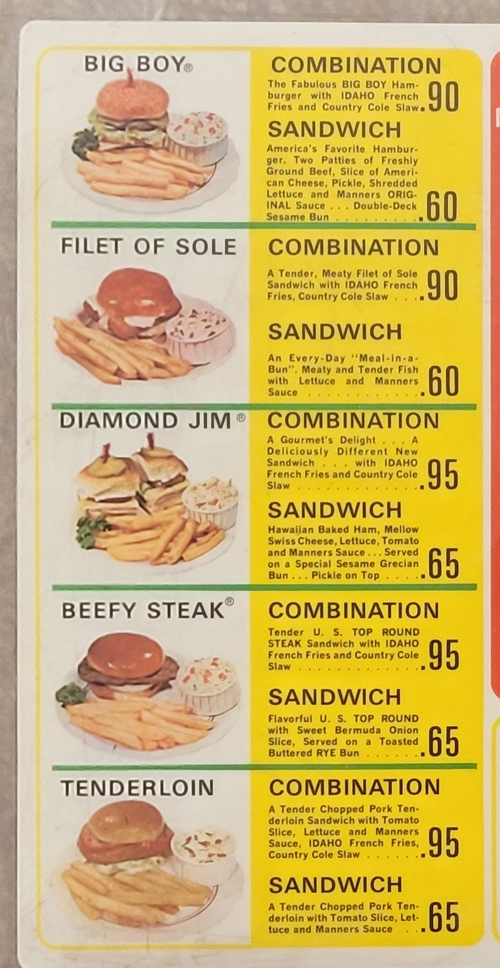 Old Manners Big Boy Restaurant menu - 1
