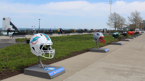 Rows of NFL football helmets in Cleveland