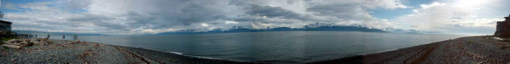 Panorama from the tip of Homer Spit