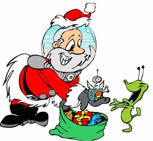 alien with Santa Claus