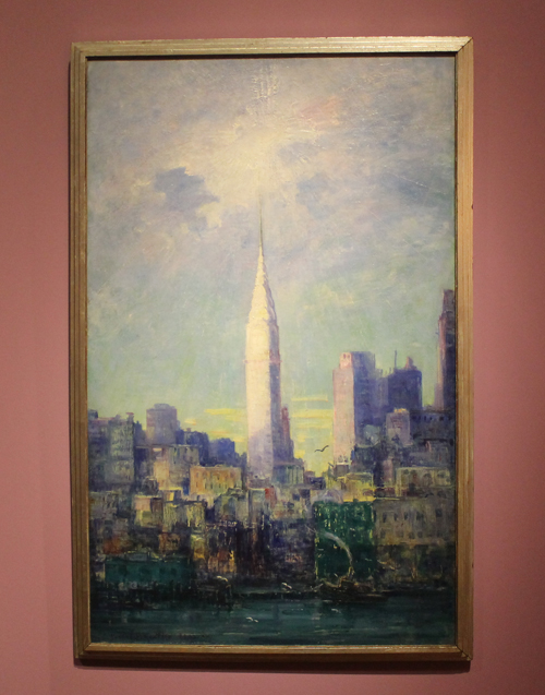 View of the Chrysler Buliding oil on canvas 1933 by Rachel Hartley
