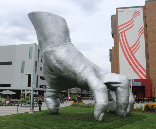Judy's Hand sculpture by Tony Tasset at Toby's Plaza at Case Western Reserve University in Cleveland