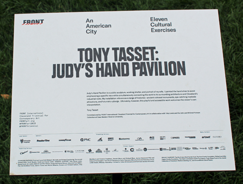 sign for Judy's Hand sculpture by Tony Tasset at Toby's Plaza at Case Western Reserve University in Cleveland
