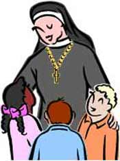 Catholic Nun with children