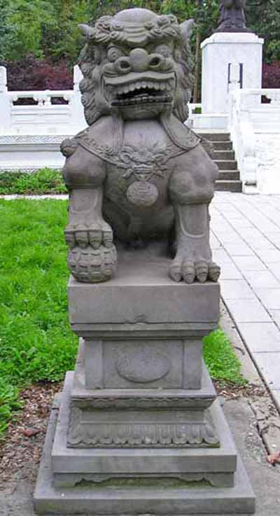 Lion statue at Cleveland Chinese Gardens