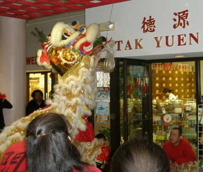 Lion dance - eating the lettuce