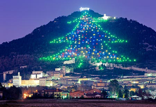 The world's largest Christmas tree display rises up the slopes of Monte Ingino outside of Gubbio, in Italy 's Umbria region