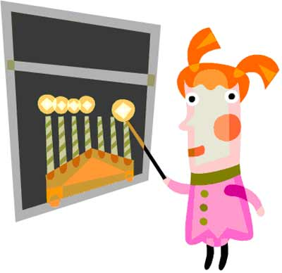 girl lighting the Hanukkah menorah