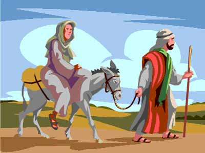 Mary on donkey with Joseph at Christmas birth of Jesus