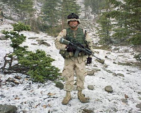 American soldier on Christmas