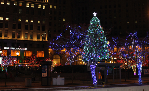 Horseshoe Casino Christmas display in downtown Cleveland on Public Square