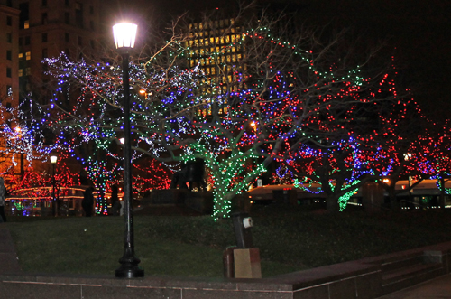 Christmas display in downtown Cleveland on Public Square