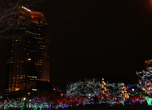 Huntington Building - Christmas display in downtown Cleveland on Public Square