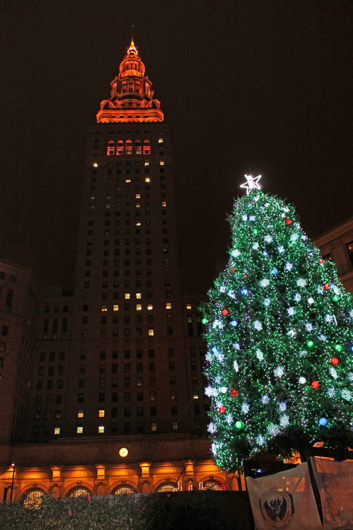 Terminal Tower Christmas display in downtown Cleveland on Public Square