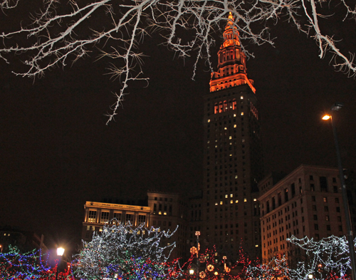 Terminal Tower - Christmas display in downtown Cleveland on Public Square