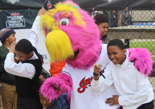Cleveland Indians mascot Slider and kids