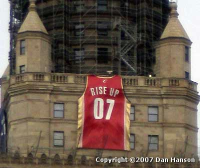 Cleveland Cavalier jersey on Terminal Tower