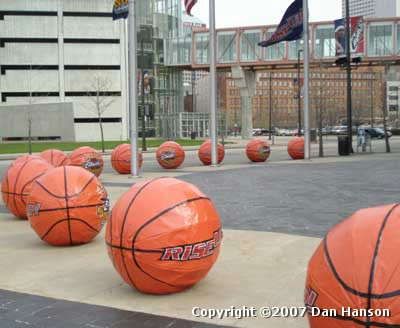 Cleveland Cavaliers Playoff balls outside The Q