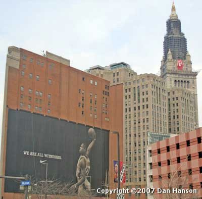 LeBron James Witness mural in front of Terminal Tower Cav's jersey
