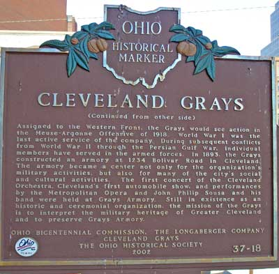 Cleveland Grays Ohio Historical Marker - Back side