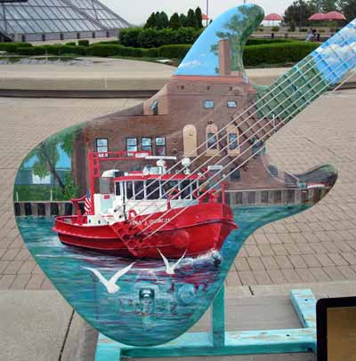 Fireboat on the Cuyahoga River Guitar at Guitarmania in Cleveland