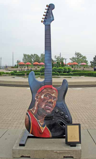 Cleveland Cavaliers Lebron James guitar at Guitarmania in Cleveland