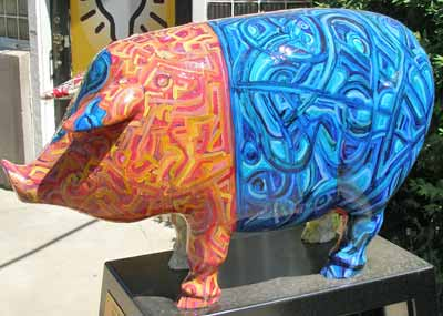 Get the Balance Right Pig Sculpture in Cleveland