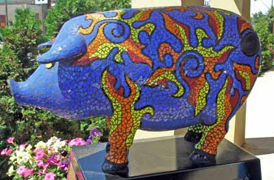 Pigment of my Imagination Pig sculpture in Cleveland at 3945 St. Clair