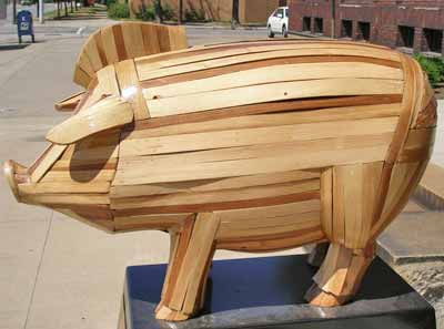 Trojan Piggy Bank pig sculpture at 3615 Superior in Cleveland