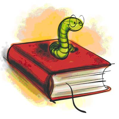 Bookworm - worm with glasses coming out of book