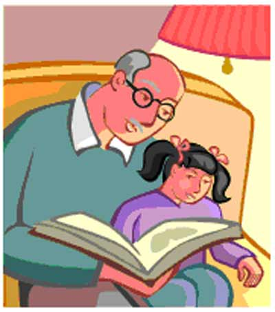 Grandfather reading to little girl
