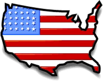 Map of US in flag pattern