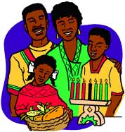 African American Family celebrating Kwanzaa