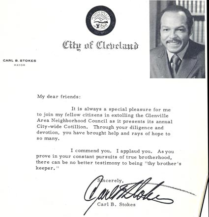 Cleveland Mayor Carl B. Stokes letter to Glenville Cotillion Group