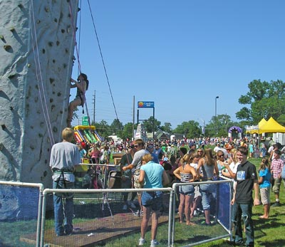 Rock climbing wall at the Catholic Fest