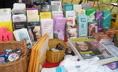 Some of the literature available at the Cleveland Catholic Fest