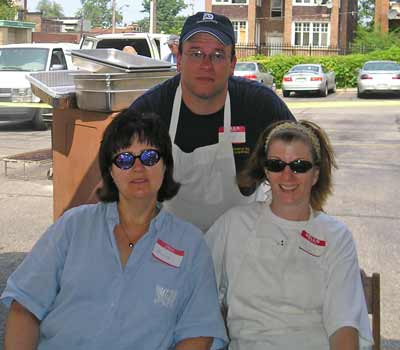 Brigid Drake Rob and Bridget MarokVolunteers at the St Philomena rib off