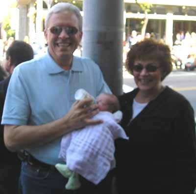 Frank and Marion Scalish with 9 day old Carmella Theresa Galeti, daughter of Rini and Chuck Galeti.