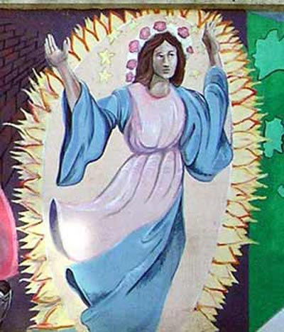 Angel From mural painted on wall on Mayfield in Cleveland's Little Italy